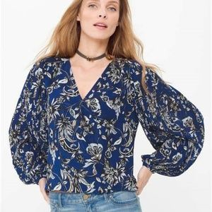 WHBM Blue Paisley Floral Pleated Sleeve Blouse